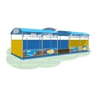 Детская веранда «Море» 10 метров (бетонируемая, с полом, ступенчатая крыша)