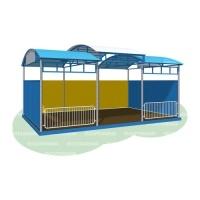 Веранда без дополнительного декора (бетонируемая, с полом, ступенчатая крыша)