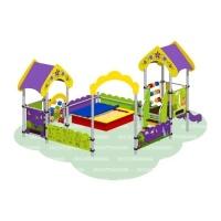 Песочный дворик «Полянка» с горкой (песочница с тентом)