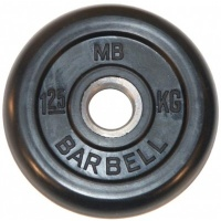 MB-PltB26-1,25 Диск обрезиненный, чёрного цвета, 26 мм, 1,25 кг, МВ Barbell
