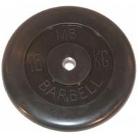 MB-PltB26-15 Диск обрезиненный, чёрного цвета, 26 мм, 15 кг, МВ Barbell