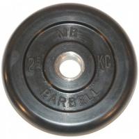 MB-PltB26-2,5 Диск обрезиненный, чёрного цвета, 26 мм, 2,5 кг, МВ Barbell