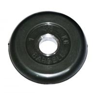 MB-PltB31-1 Диск обрезиненный, чёрного цвета, 31 мм, 1 кг, МВ Barbell