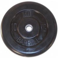 MB-PltB31-10 Диск обрезиненный, чёрного цвета, 31 мм, 10 кг, МВ Barbell