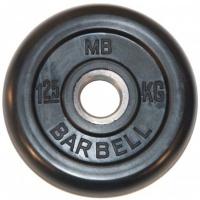 MB-PltB31-1,25 Диск обрезиненный, чёрного цвета, 31 мм, 1,25 кг, МВ Barbell