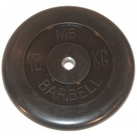 MB-PltB31-15 Диск обрезиненный, чёрного цвета, 31 мм, 15 кг, МВ Barbell