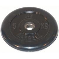 MB-PltB31-5 Диск обрезиненный, чёрного цвета, 31 мм, 5 кг, МВ Barbell
