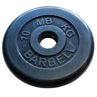 MB-PltB50-10 Диск обрезиненный, чёрного цвета, 51 мм, 10 кг, МВ Barbell