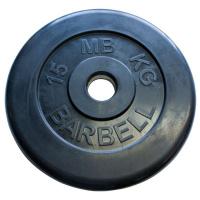 MB-PltB50-15 Диск обрезиненный, чёрного цвета, 51 мм, 15 кг, МВ Barbell
