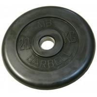 MB-PltB50-20 Диск обрезиненный, чёрного цвета, 51 мм, 20 кг, МВ Barbell