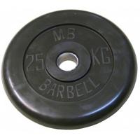 MB-PltB50-25 Диск обрезиненный, чёрного цвета, 51 мм, 25 кг, МВ Barbell