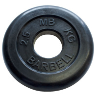MB-PltB50-2,5 Диск обрезиненный, чёрного цвета, 51 мм, 2,5 кг, МВ Barbell