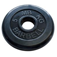 MB-PltB50-5 Диск обрезиненный, чёрного цвета, 51 мм, 5 кг, МВ Barbell