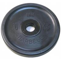 MB-PltBE-10 Диск обрезиненный, чёрный, евро-классик, 10 кг, МВ Barbell
