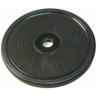 MB-PltBE-15 Диск обрезиненный, чёрный, евро-классик, 15 кг, МВ Barbell