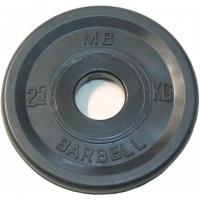 MB-PltBE-2,5 Диск обрезиненный, чёрный, евро-классик, 2,5 кг, МВ Barbell