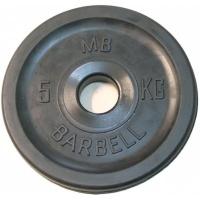 MB-PltBE-5 Диск обрезиненный, чёрный, евро-классик, 5 кг, МВ Barbell
