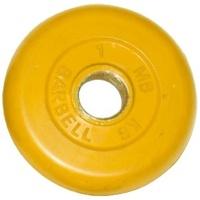 MB-PltC26-1 Диск обрезиненный, жёлтый, 26 мм, 1 кг, МВ Barbell