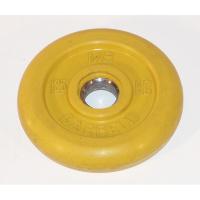 MB-PltC26-1,25 Диск обрезиненный, жёлтый, 26 мм, 1,25 кг, МВ Barbell