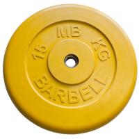 MB-PltC26-15 Диск обрезиненный, жёлтый, 26 мм, 15 кг, МВ Barbell