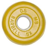 MB-PltC31-0,5 Диск обрезиненный, жёлтый, 31 мм, 0,5 кг, МВ Barbell