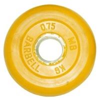 MB-PltC31-0,75 Диск обрезиненный, жёлтый, 31 мм, 0,75 кг, МВ Barbell