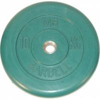 MB-PltC31-10 Диск обрезиненный, зелёный, 31 мм, 10 кг, МВ Barbell