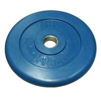 MB-PltC31-20 Диск обрезиненный, синий, 31 мм, 20 кг, МВ Barbell