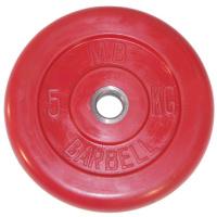 MB-PltC31-5 Диск обрезиненный, красный, 31 мм, 5 кг, МВ Barbell
