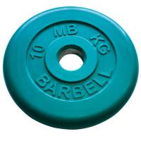 MB-PltC50-10 Диск обрезиненный, зелёный, 51 мм, 10 кг, МВ Barbell