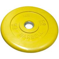 MB-PltC50-15 Диск обрезиненный, жёлтый, 51 мм, 15 кг, МВ Barbell