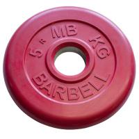 MB-PltC50-5 Диск обрезиненный, красный, 51 мм, 5 кг, МВ Barbell