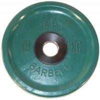 MB-PltCE-10 Диск обрезиненный, евро-классик, зелёный, 10 кг, МВ Barbell