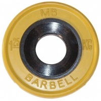 MB-PltCE-1,25 Диск обрезиненный, евро-классик, жёлтый, 1,25 кг, МВ Barbell