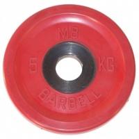 MB-PltCE-5 Диск обрезиненный, евро-классик, красный, 5 кг, МВ Barbell